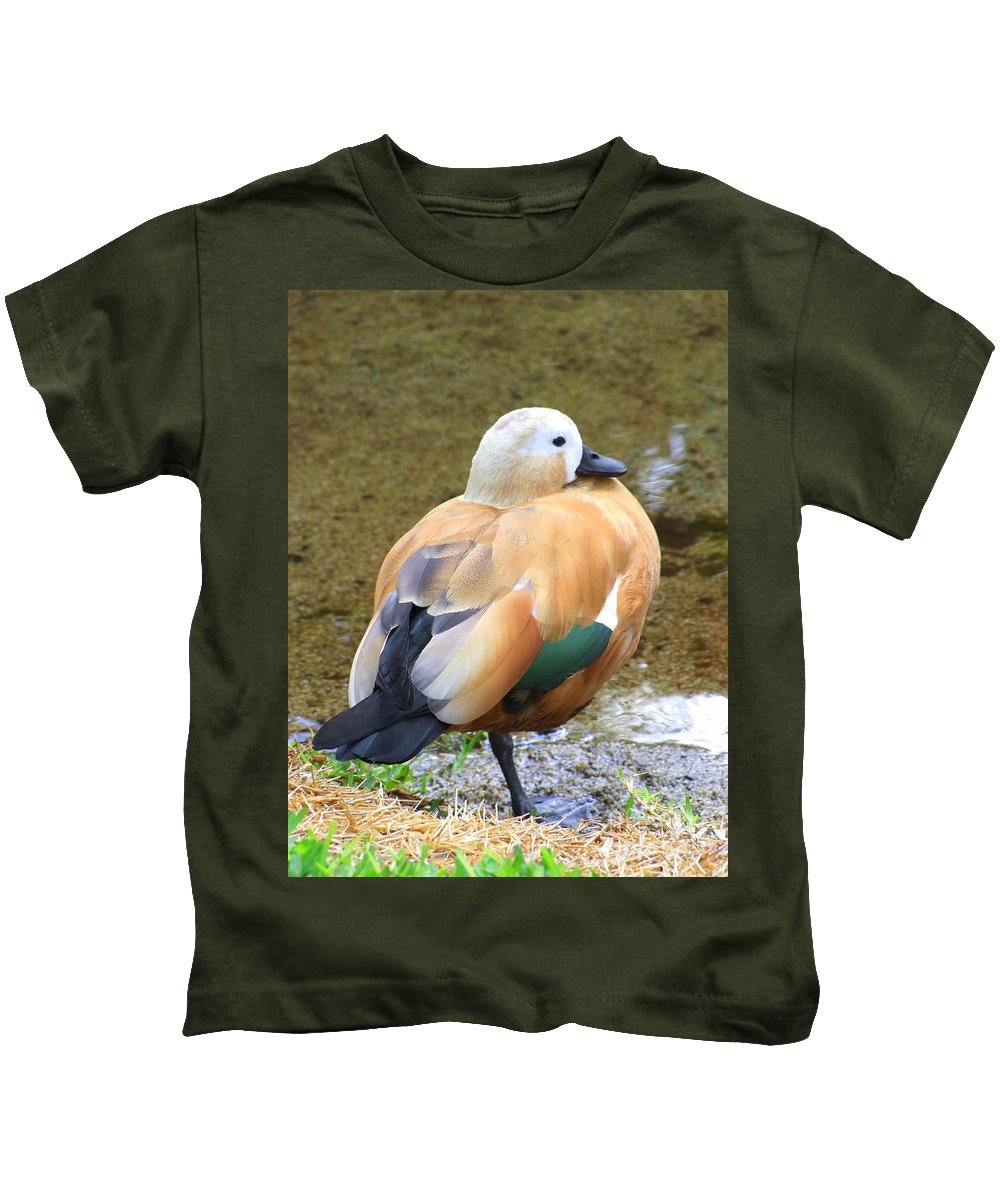 Green Kids T-Shirt featuring the photograph Green Winged Wood Duck 2 by Mary Deal