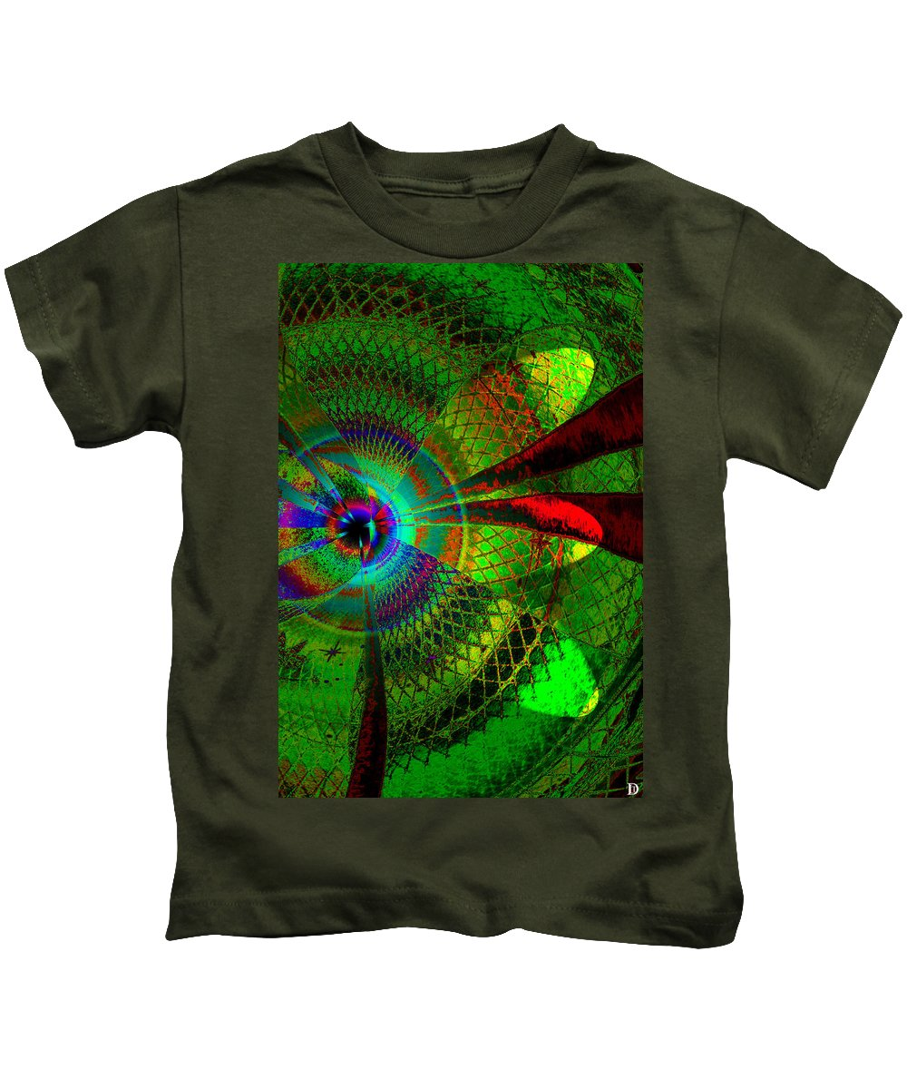 Green Worlds Kids T-Shirt featuring the painting Green Worlds by David Lee Thompson