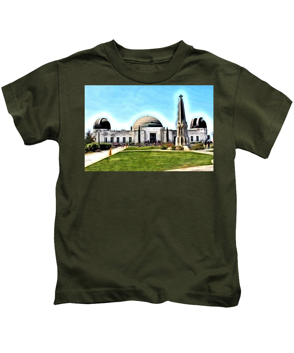 Observatory Kids T-Shirt featuring the photograph Griffith Observatory, Los Angeles, California by Robert Butler