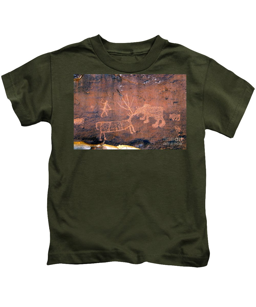 Grizzly Bear Kids T-Shirt featuring the photograph Grizzly Bear Attack by David Lee Thompson