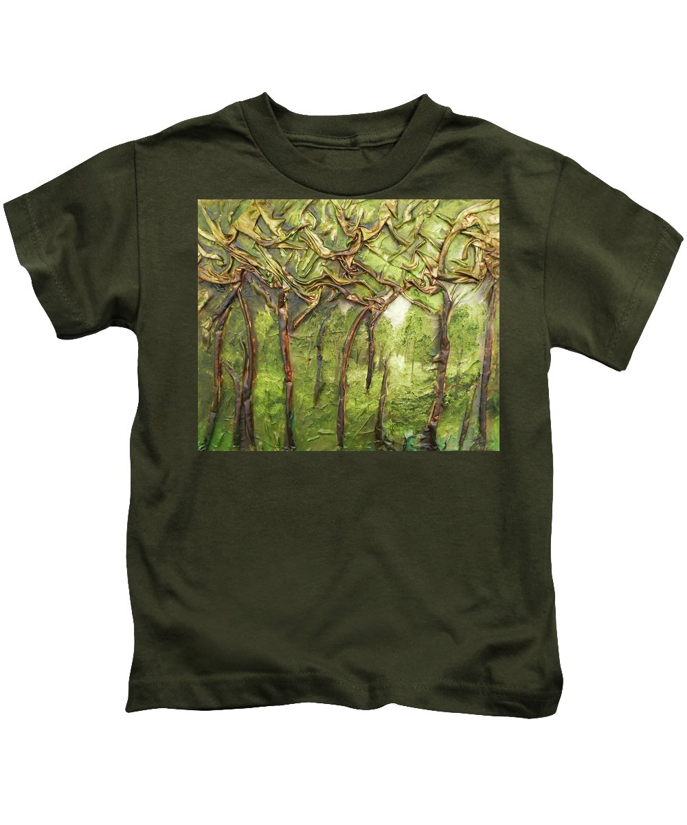 Abstract Art Kids T-Shirt featuring the mixed media Grove Of Trees by Angela Stout