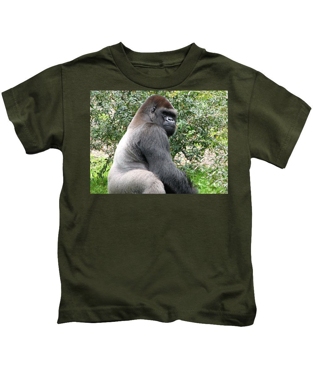 Gorilla Kids T-Shirt featuring the photograph Grumpy Gorilla by Stacey May