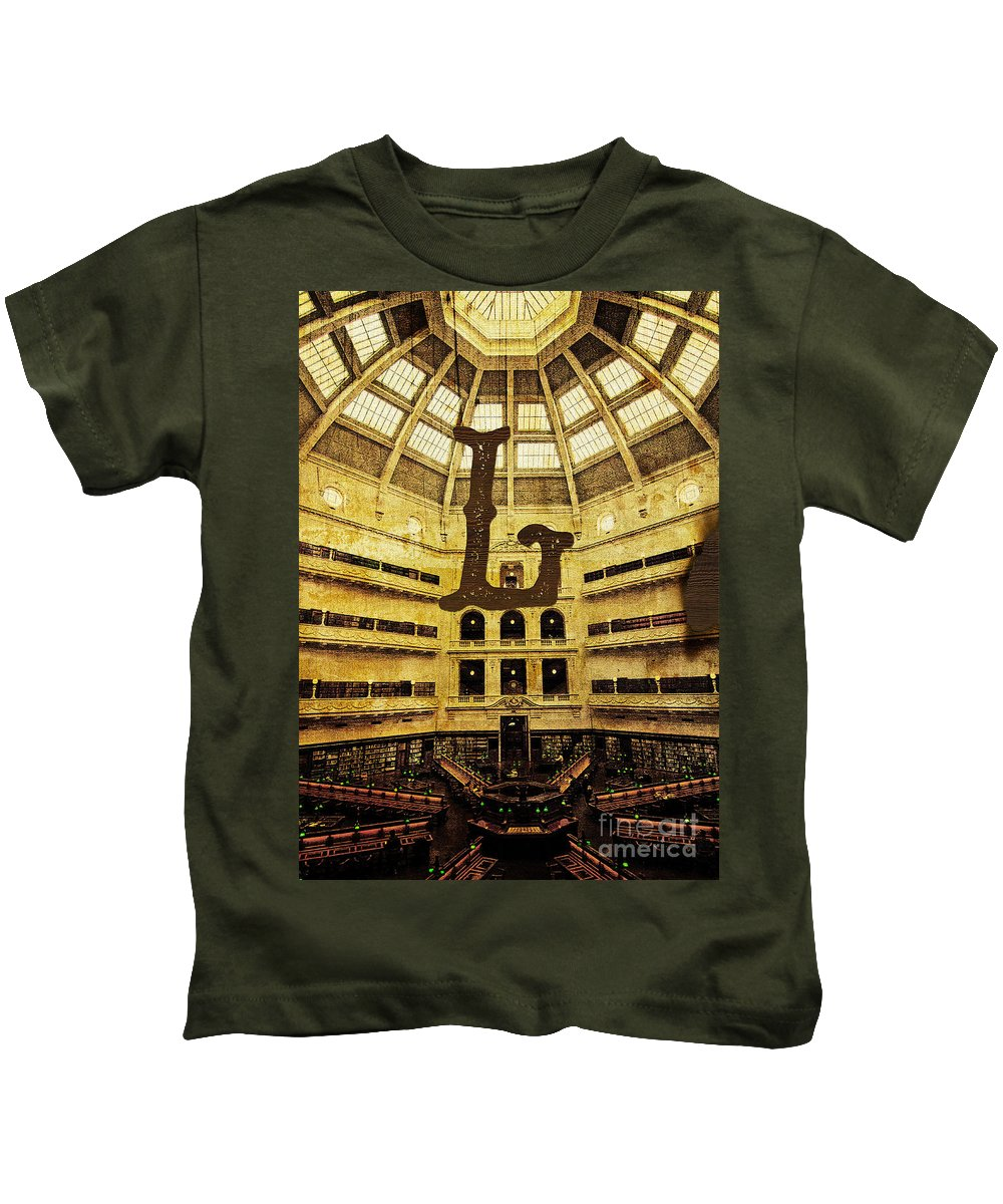 Library Kids T-Shirt featuring the photograph Grungy Melbourne Australia Alphabet Series Letter L State Librar by Beverly Claire Kaiya
