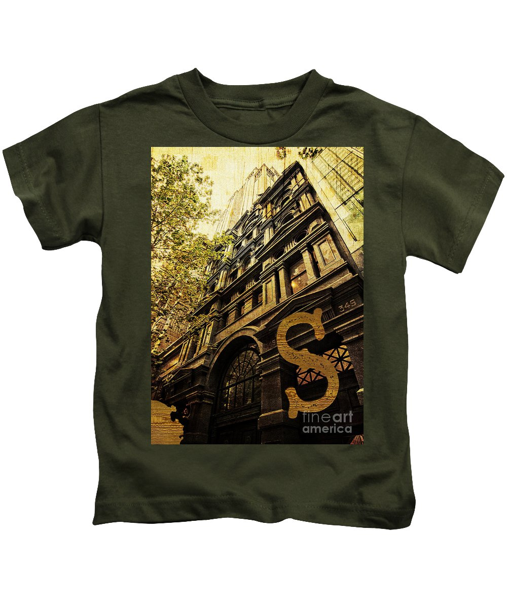 Heritage Kids T-Shirt featuring the photograph Grungy Melbourne Australia Alphabet Series Letter S Collins Stre by Beverly Claire Kaiya