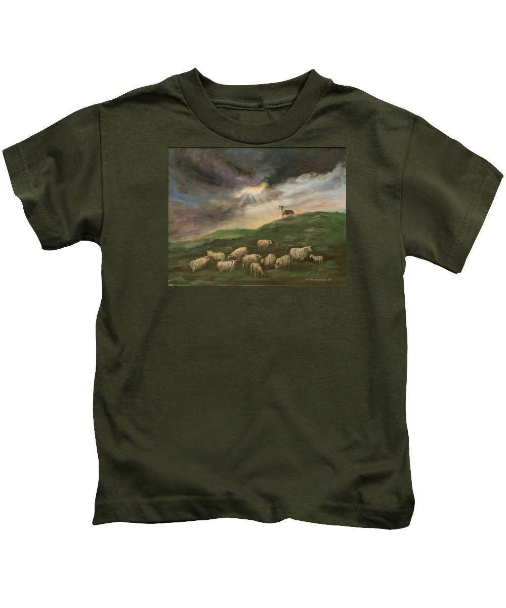 Border Collie Kids T-Shirt featuring the painting Guardian  by Vivan Robinson