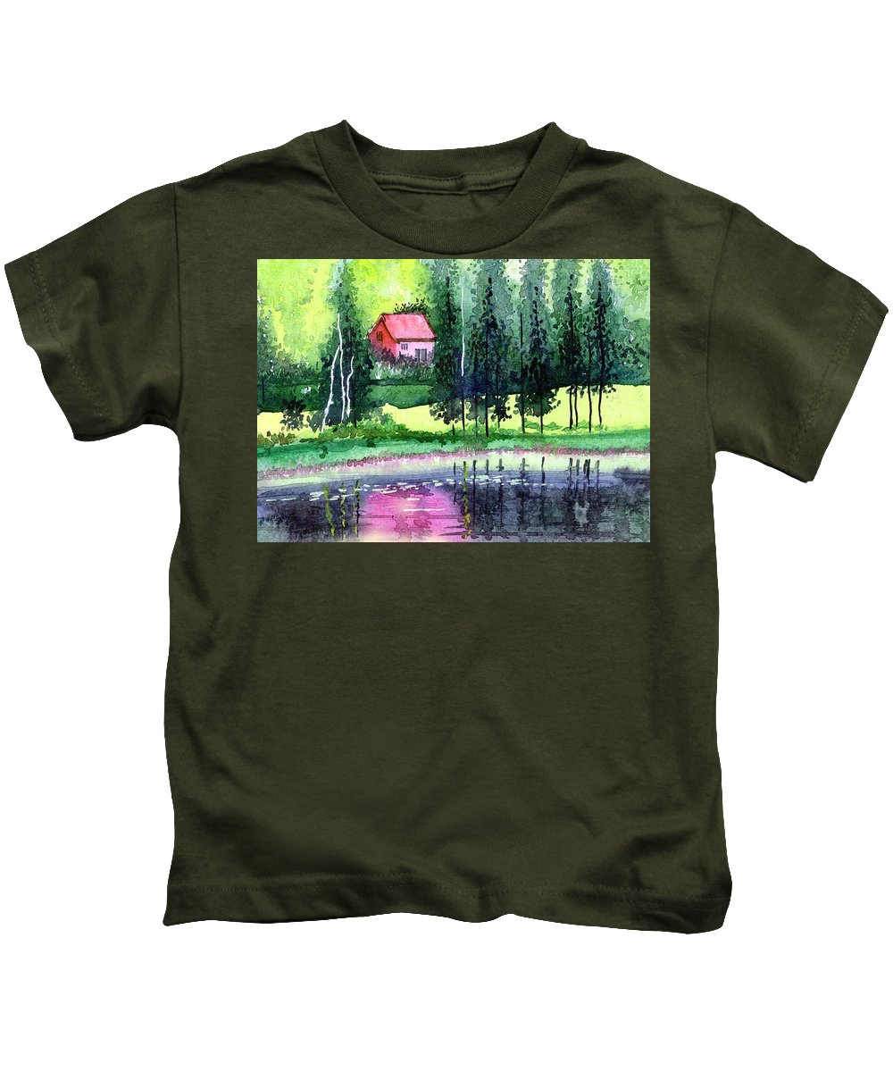 Landscape Kids T-Shirt featuring the painting Guest House by Anil Nene