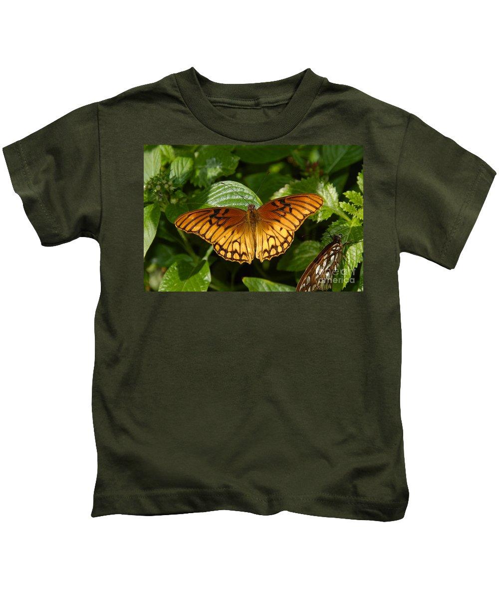 Gulf Fritillary Kids T-Shirt featuring the photograph Gulf Fritillary by David Lee Thompson