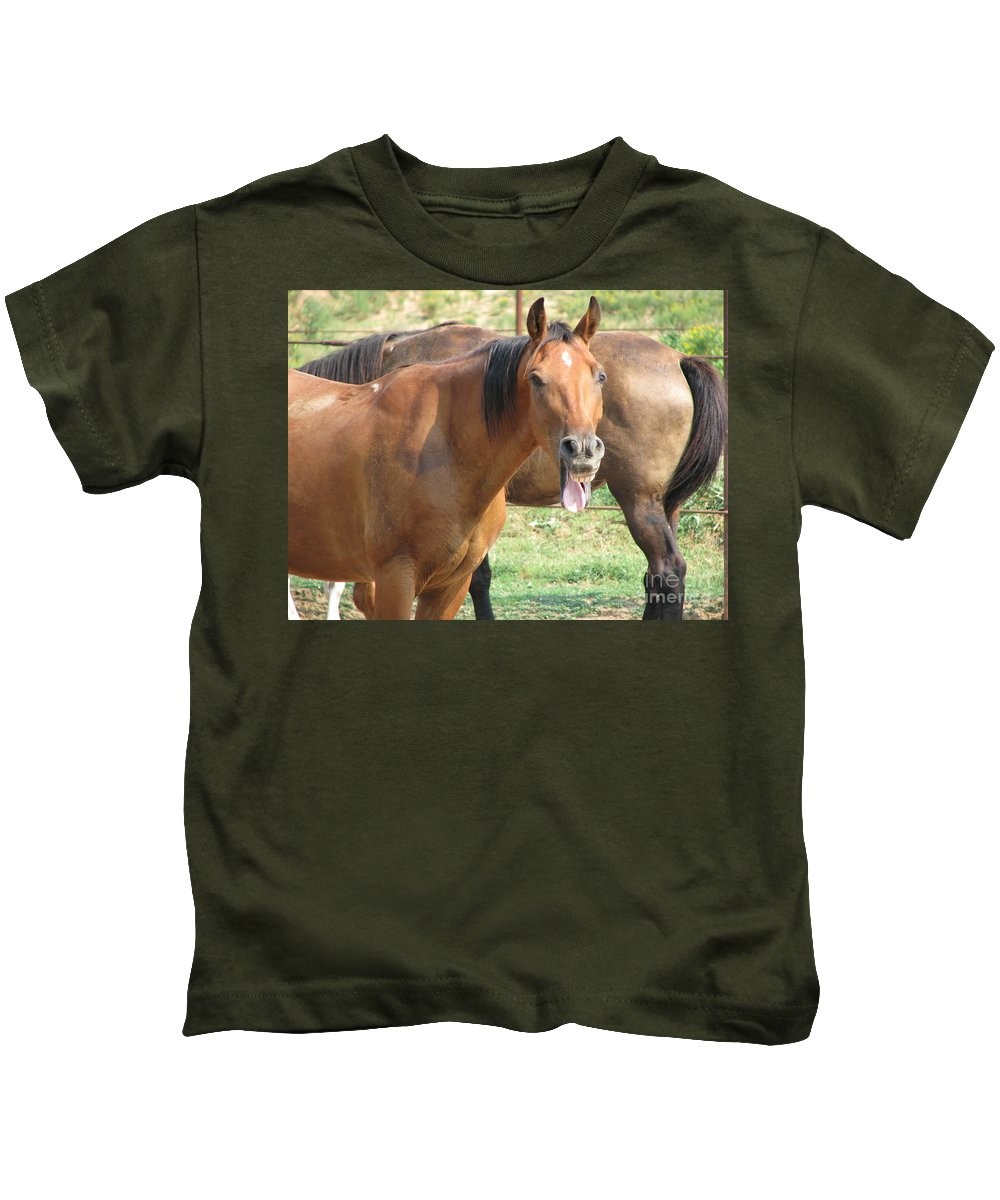 Horse Kids T-Shirt featuring the photograph Haaaaa by Amanda Barcon