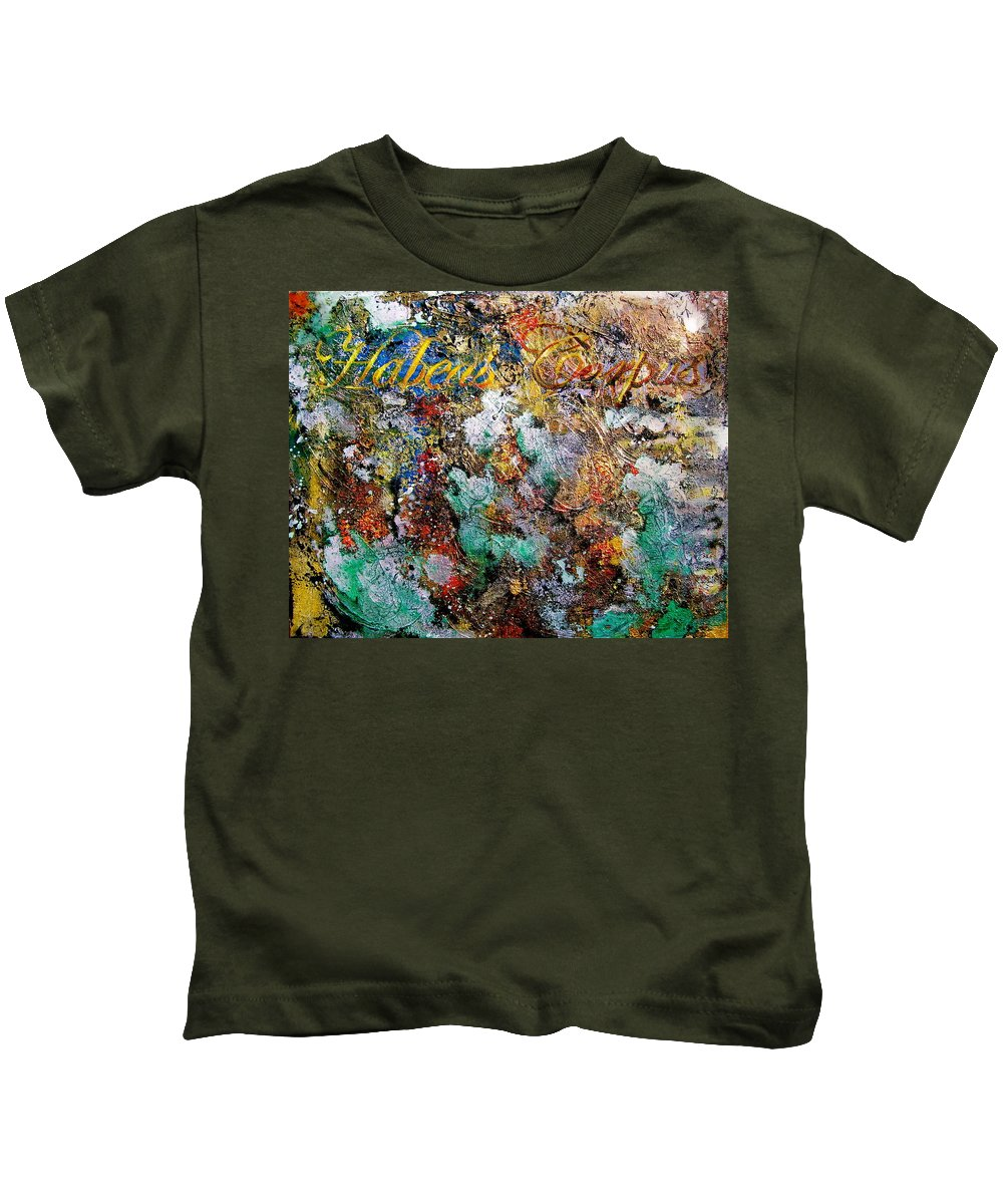 Abstract Art Kids T-Shirt featuring the painting Habeas Corpus by Laura Pierre-Louis