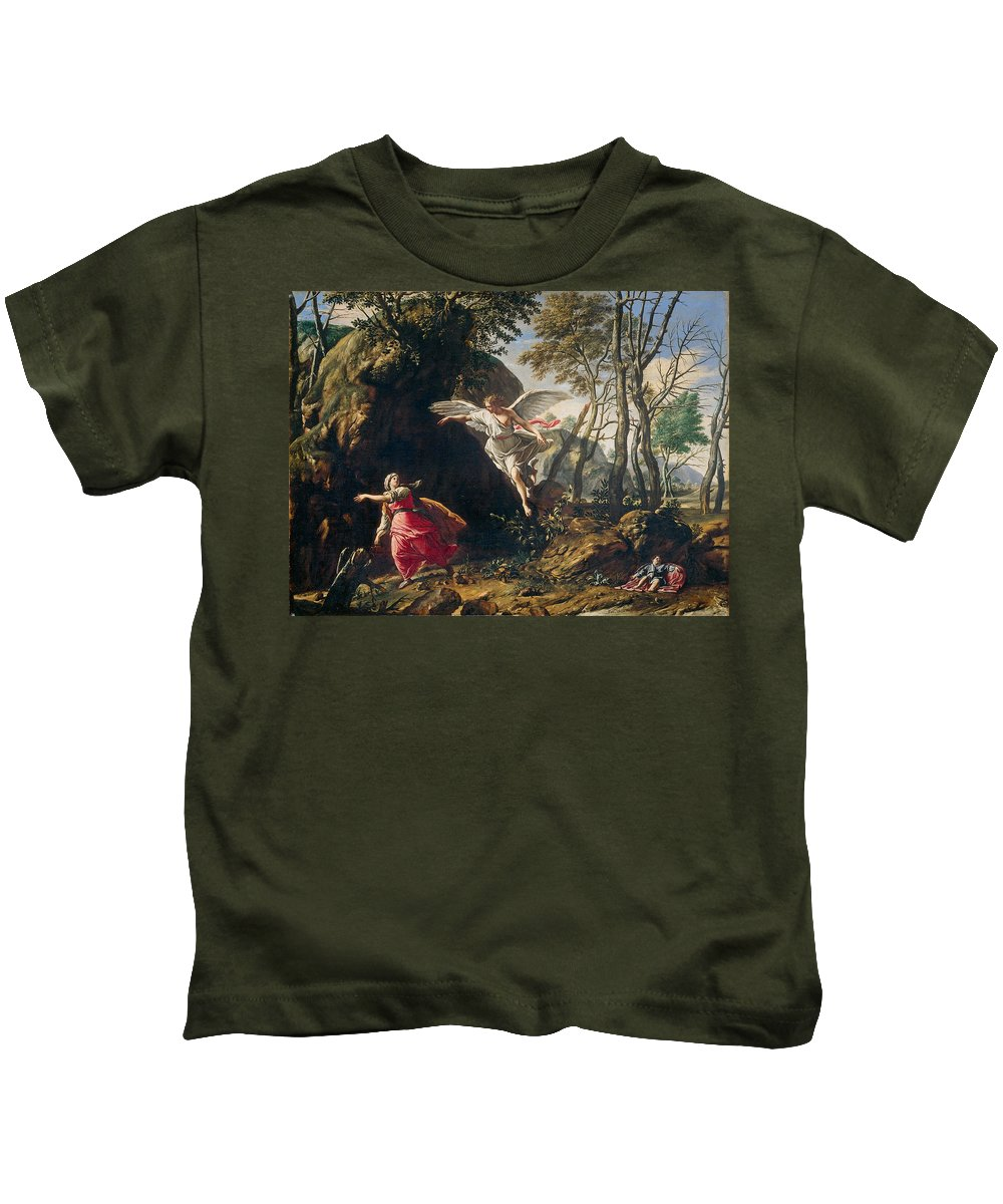 Francesco Cozza Kids T-Shirt featuring the painting Hagar And Ishmael In The Wilderness by Francesco Cozza