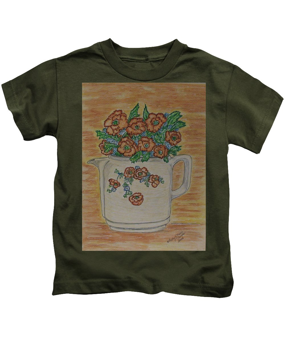 Hall China Kids T-Shirt featuring the painting Hall China Orange Poppy And Poppies by Kathy Marrs Chandler