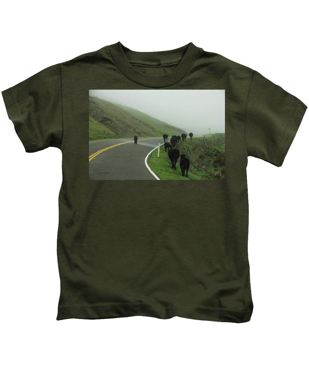 Cows Kids T-Shirt featuring the photograph Hamburger Hill by Donna Blackhall