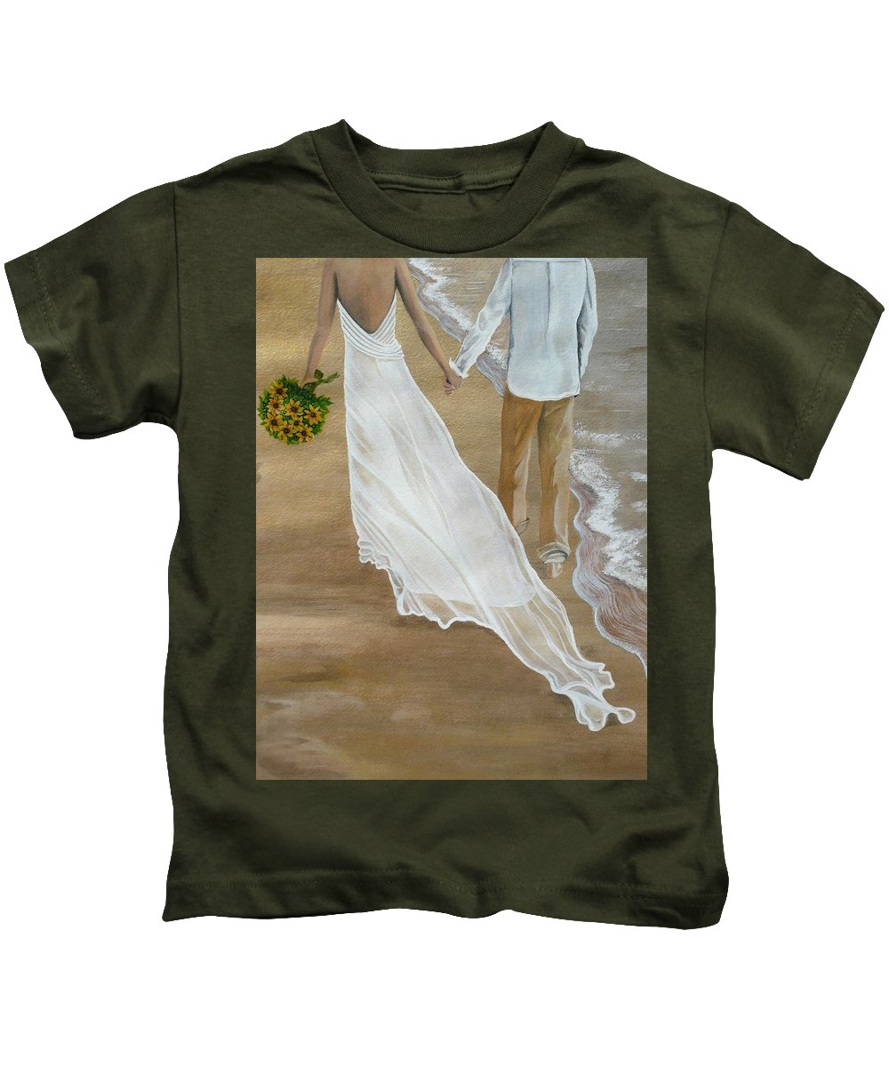 Bride And Groom Kids T-Shirt featuring the painting Hand In Hand by Kris Crollard