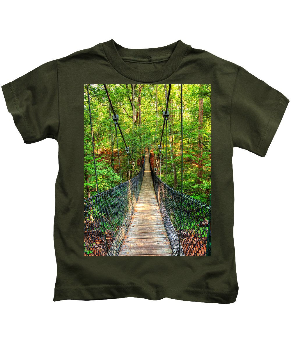Nature Kids T-Shirt featuring the photograph Hanging Bridge by Ester Rogers