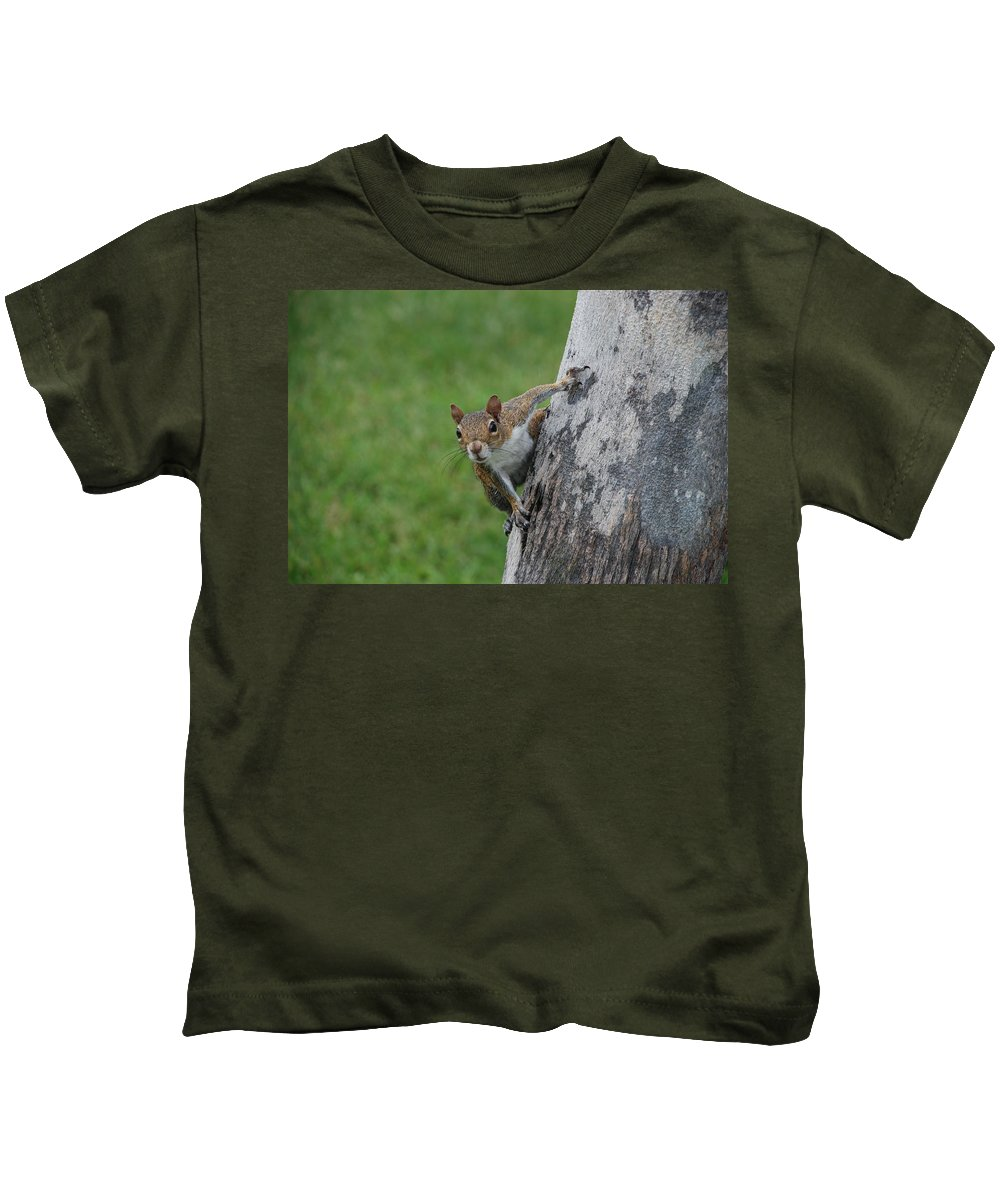 Squirrel Kids T-Shirt featuring the photograph Hanging On by Rob Hans