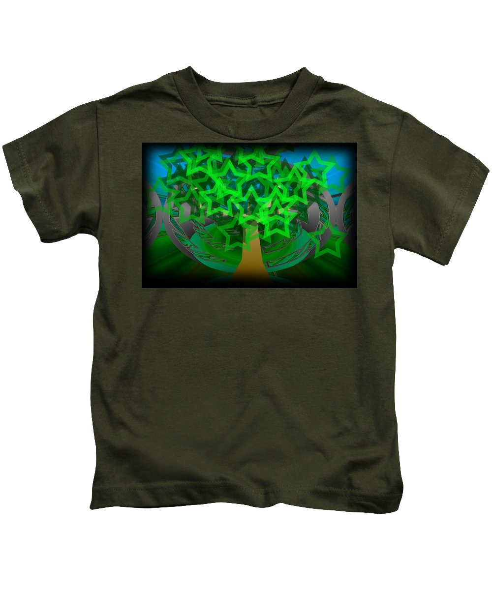 Tree Kids T-Shirt featuring the digital art Happy Tree by XERXEESE Color Schemes
