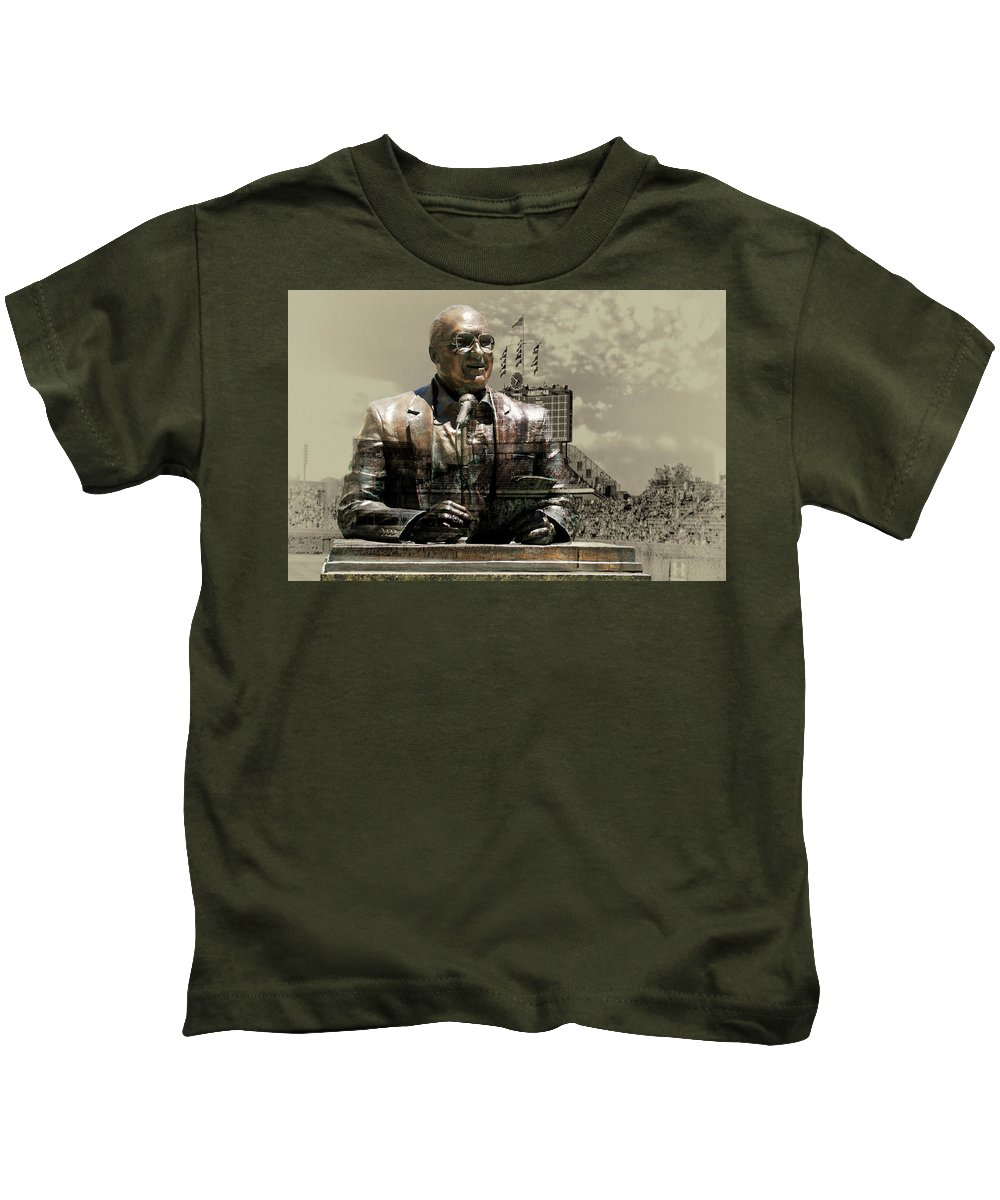 Harry Caray Kids T-Shirt featuring the photograph Harry Caray Statue With Historic Wrigley Scoreboard In Heirloom by Thomas Woolworth