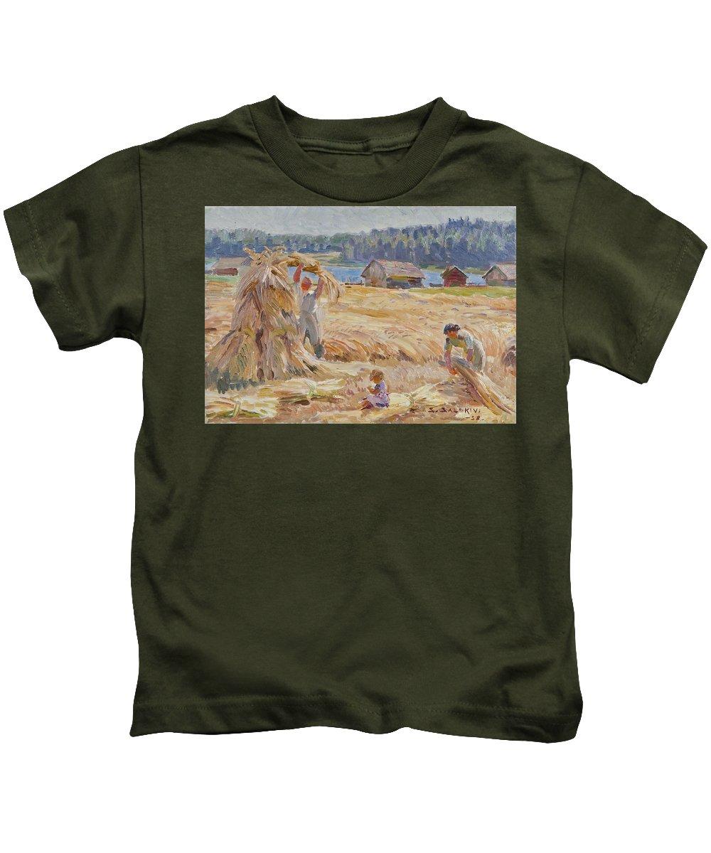 Santeri Salokivi Kids T-Shirt featuring the painting Harvest by Santeri Salokivi