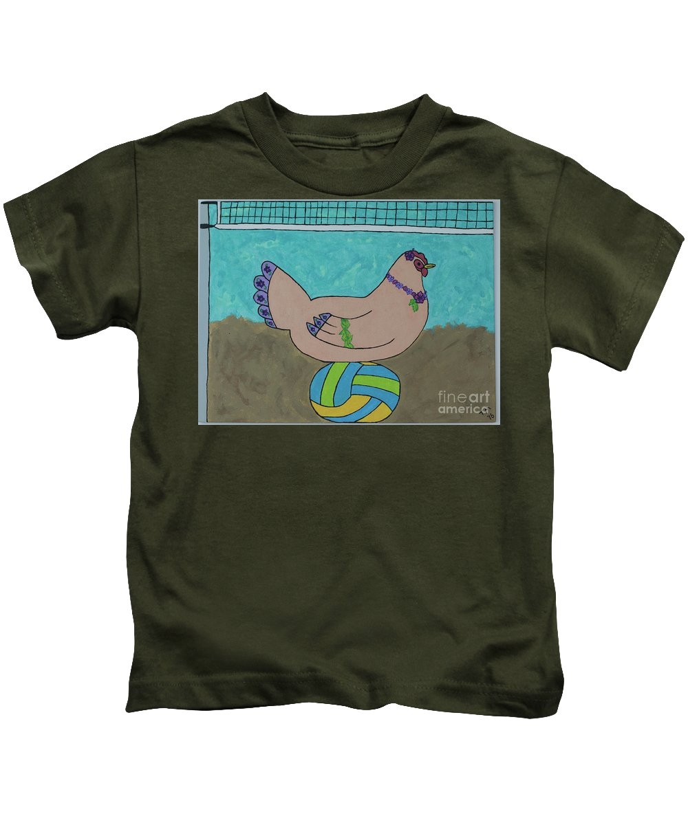 Volleybal Kids T-Shirt featuring the painting Hatching A Plan by Tami Maldonado