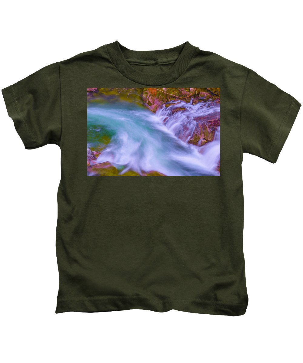 France Kids T-Shirt featuring the photograph Torrent Waterfall 2 by Jean-luc Bohin