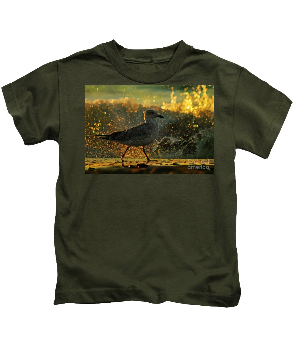Seagull Kids T-Shirt featuring the photograph Have A Walk By Th Sea by Angel Ciesniarska
