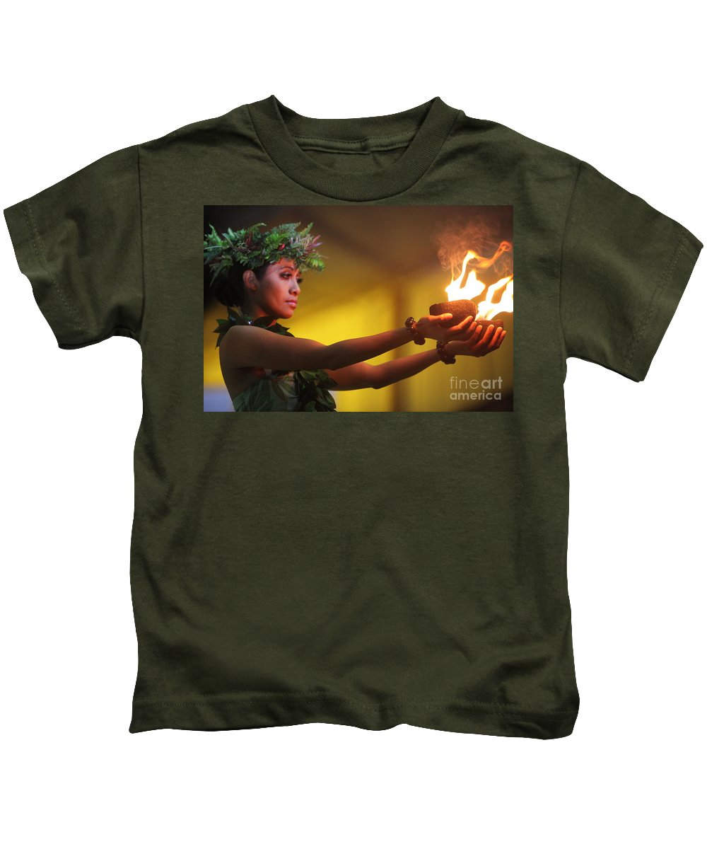 Fire Kids T-Shirt featuring the photograph Hawaiian Dancer And Firepots by Nadine Rippelmeyer