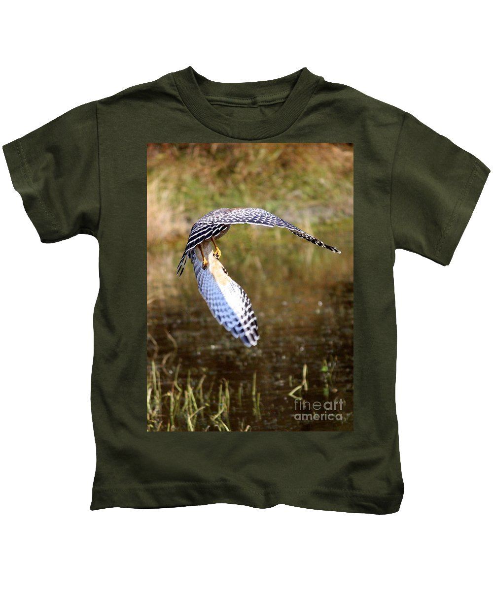 Red-shouldered Hawk Kids T-Shirt featuring the photograph Hawk Wings by Carol Groenen