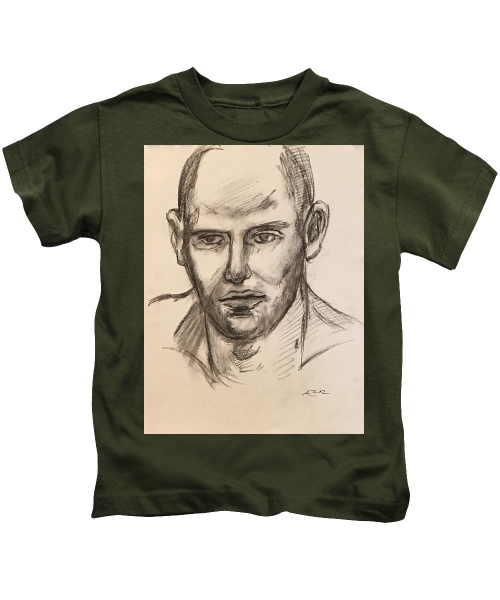 Kids T-Shirt featuring the drawing Head Of A Model by Alejandro Lopez-Tasso