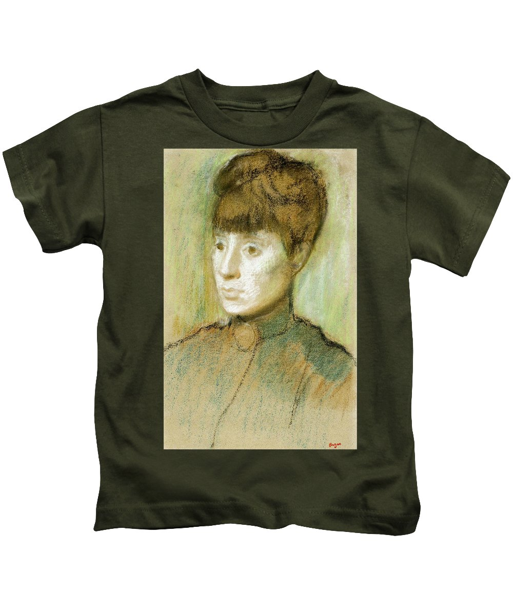 Head Kids T-Shirt featuring the painting Head Of A Woman by Edgar Degas