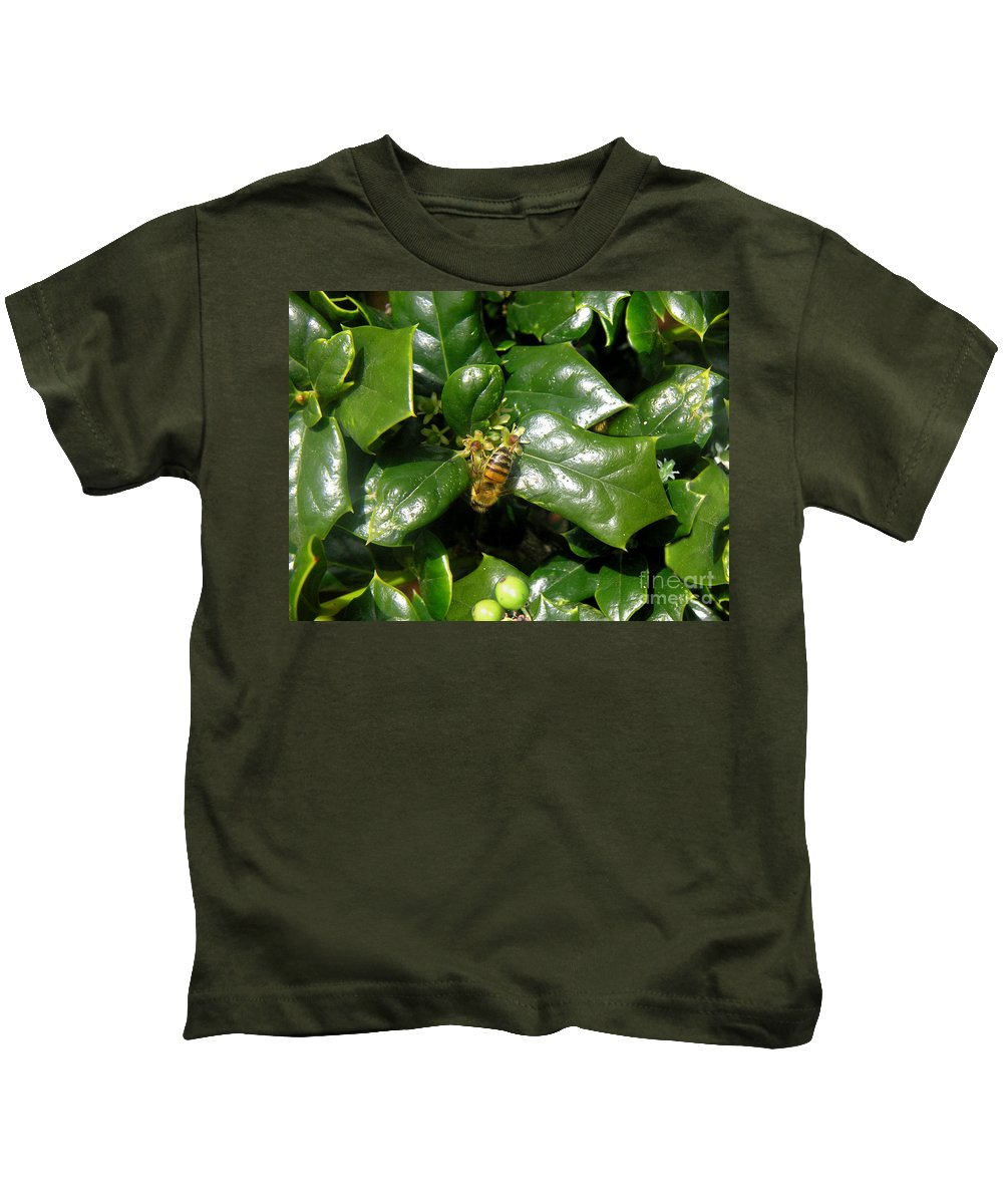 Nature Kids T-Shirt featuring the photograph Head Over Heels In The Holly by Lucyna A M Green