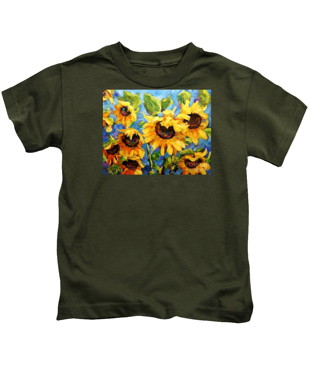Floral Scene Montreal Kids T-Shirt featuring the painting Healing Light Of Sunflowers by Richard T Pranke