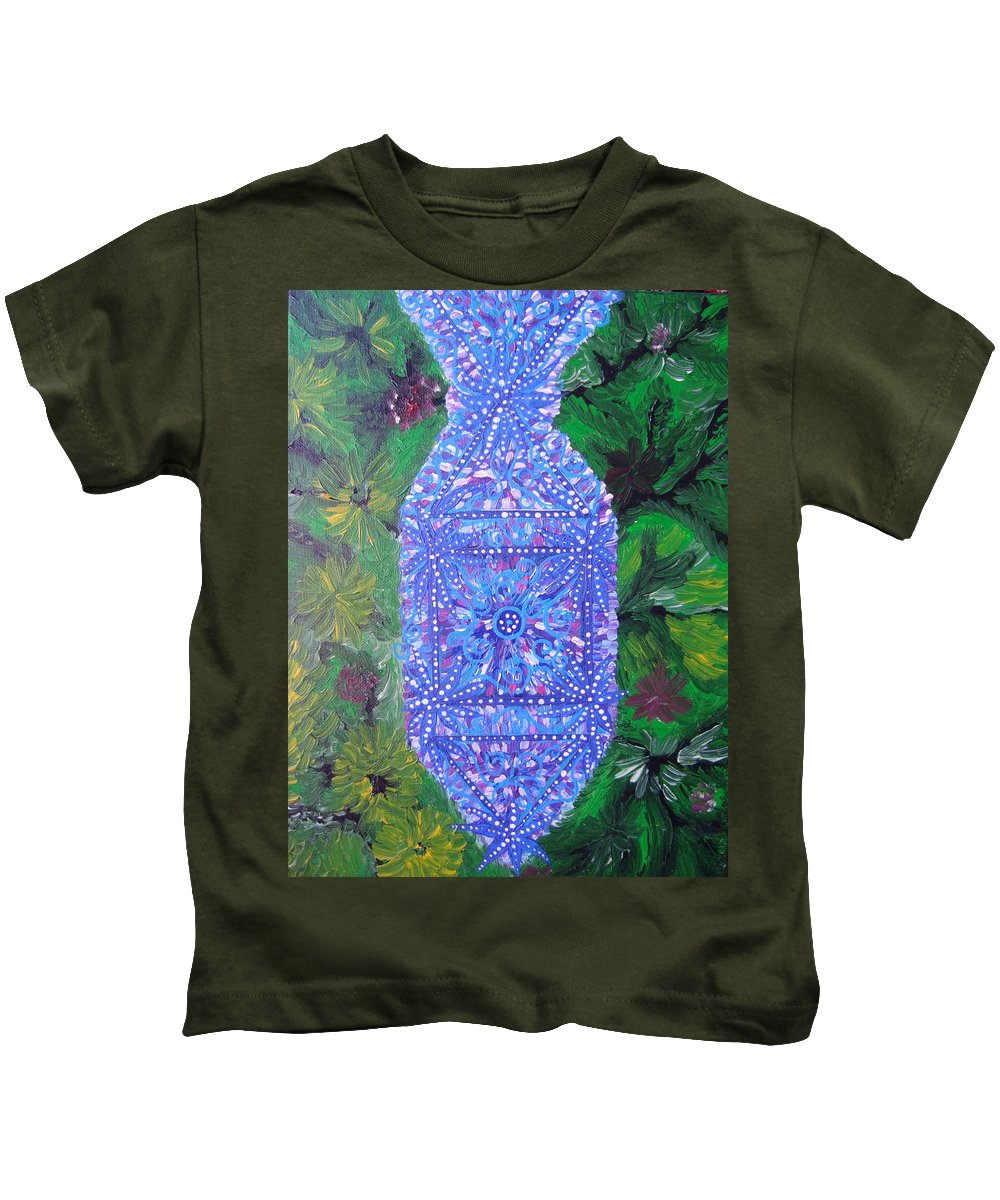 Ancient Symbol Kids T-Shirt featuring the painting Heaven-earth Connection by Joanna Pilatowicz
