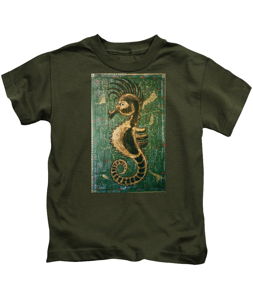 Seahorse Kids T-Shirt featuring the painting Hehorse by Joan Stratton