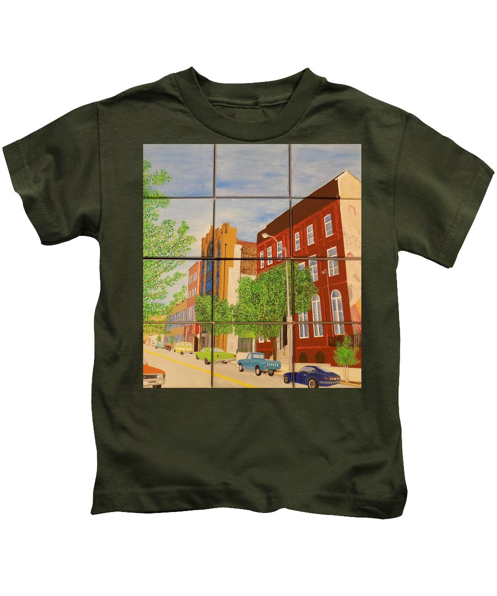 Street Kids T-Shirt featuring the painting Helping Up Mission by Paul Bashore