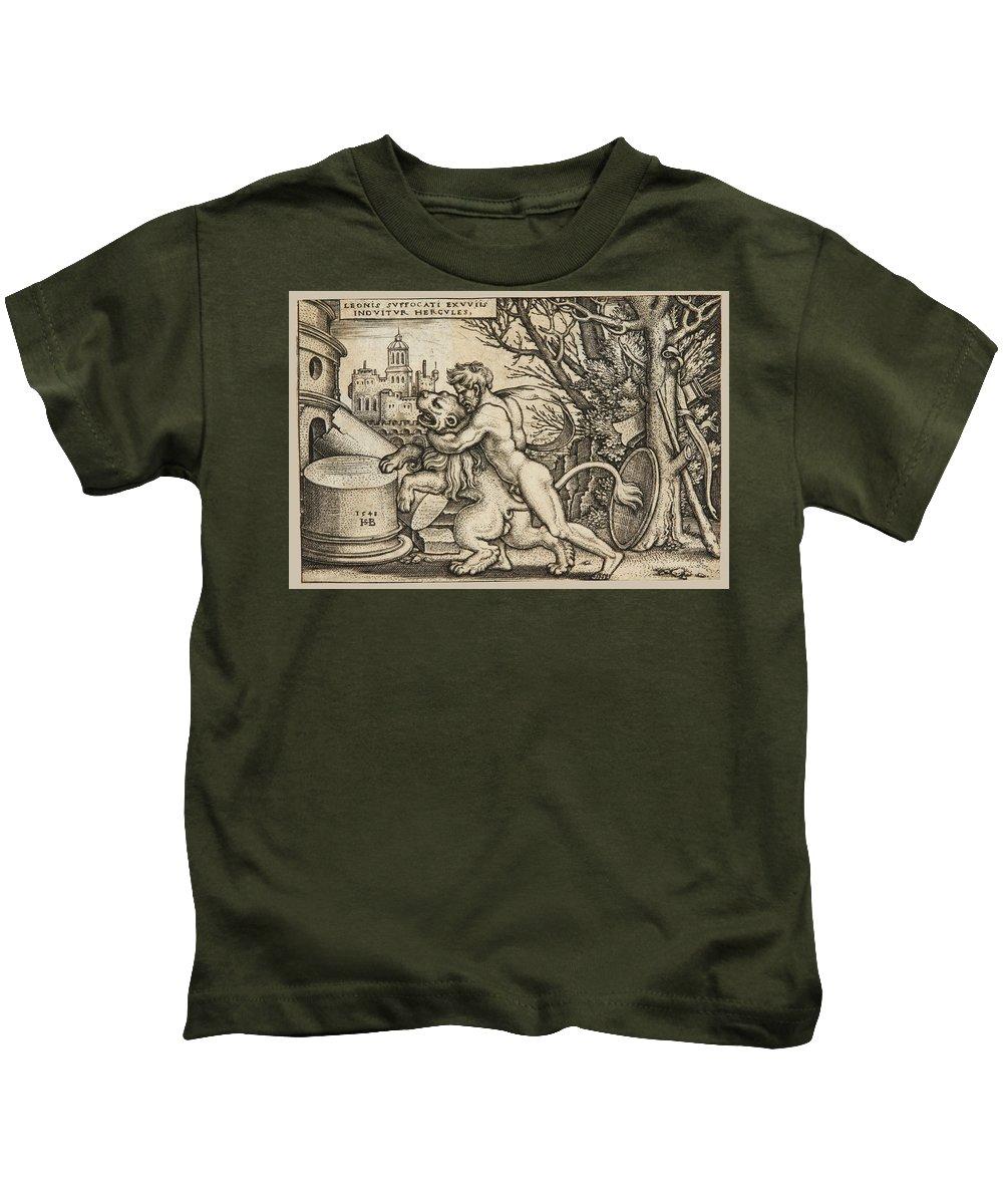 Sebald Beham Kids T-Shirt featuring the drawing Hercules Killing The Nemean Lion by Sebald Beham