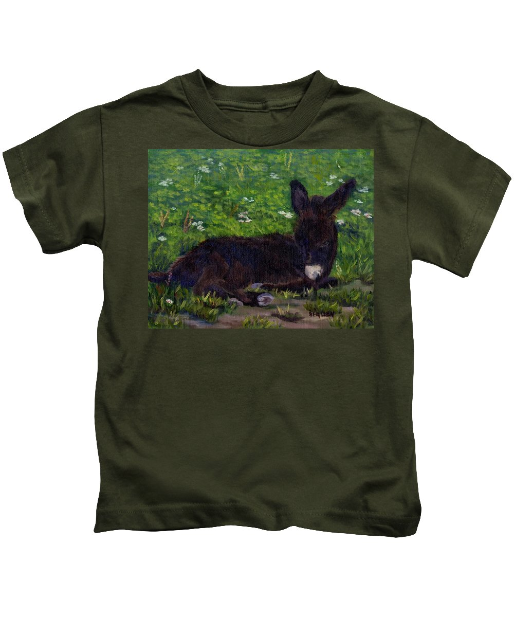Donkey Kids T-Shirt featuring the painting Hercules by Sharon E Allen