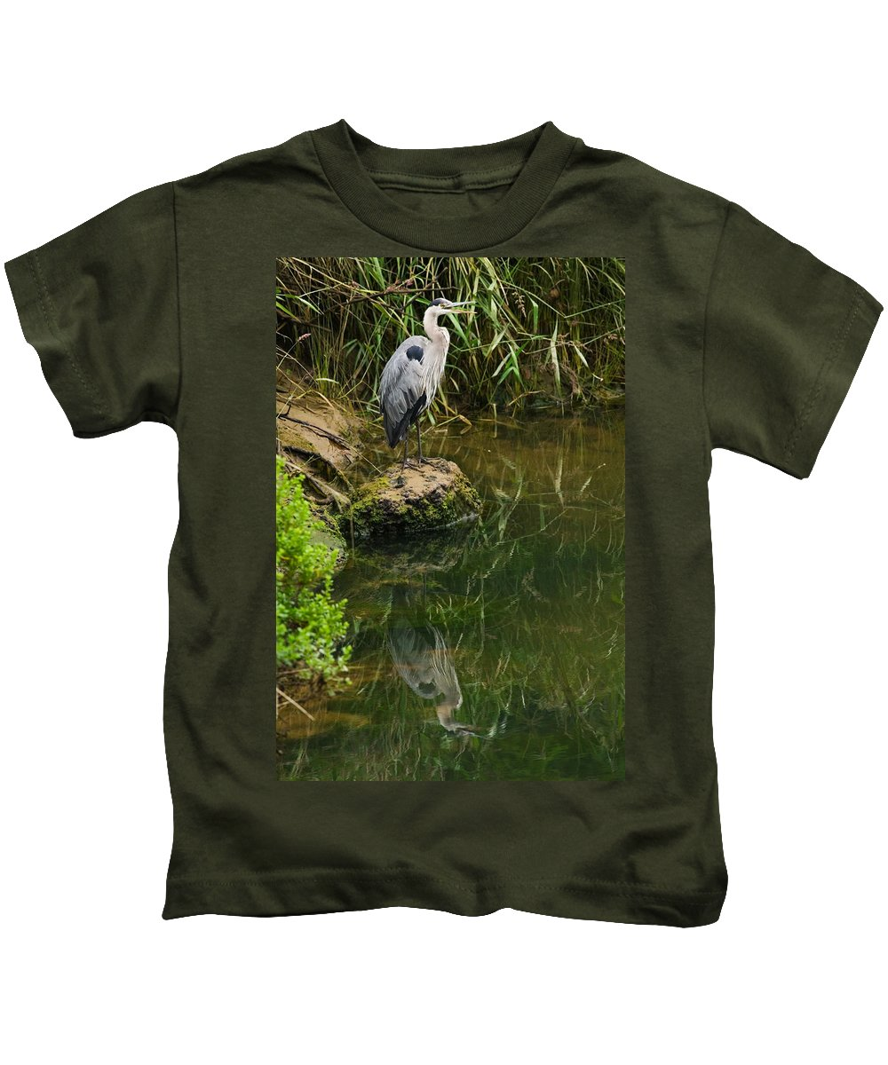 Great Blue Heron Kids T-Shirt featuring the photograph Heron Reflection by Randall Ingalls