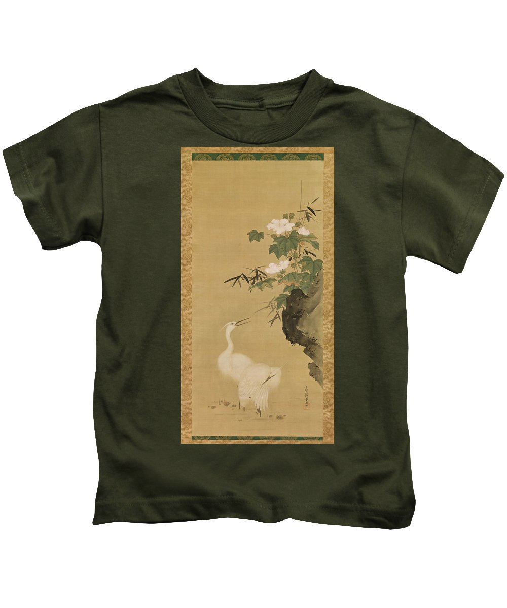 Tosa Mitsuoki Kids T-Shirt featuring the drawing Herons And Cotton Roses by Tosa Mitsuoki