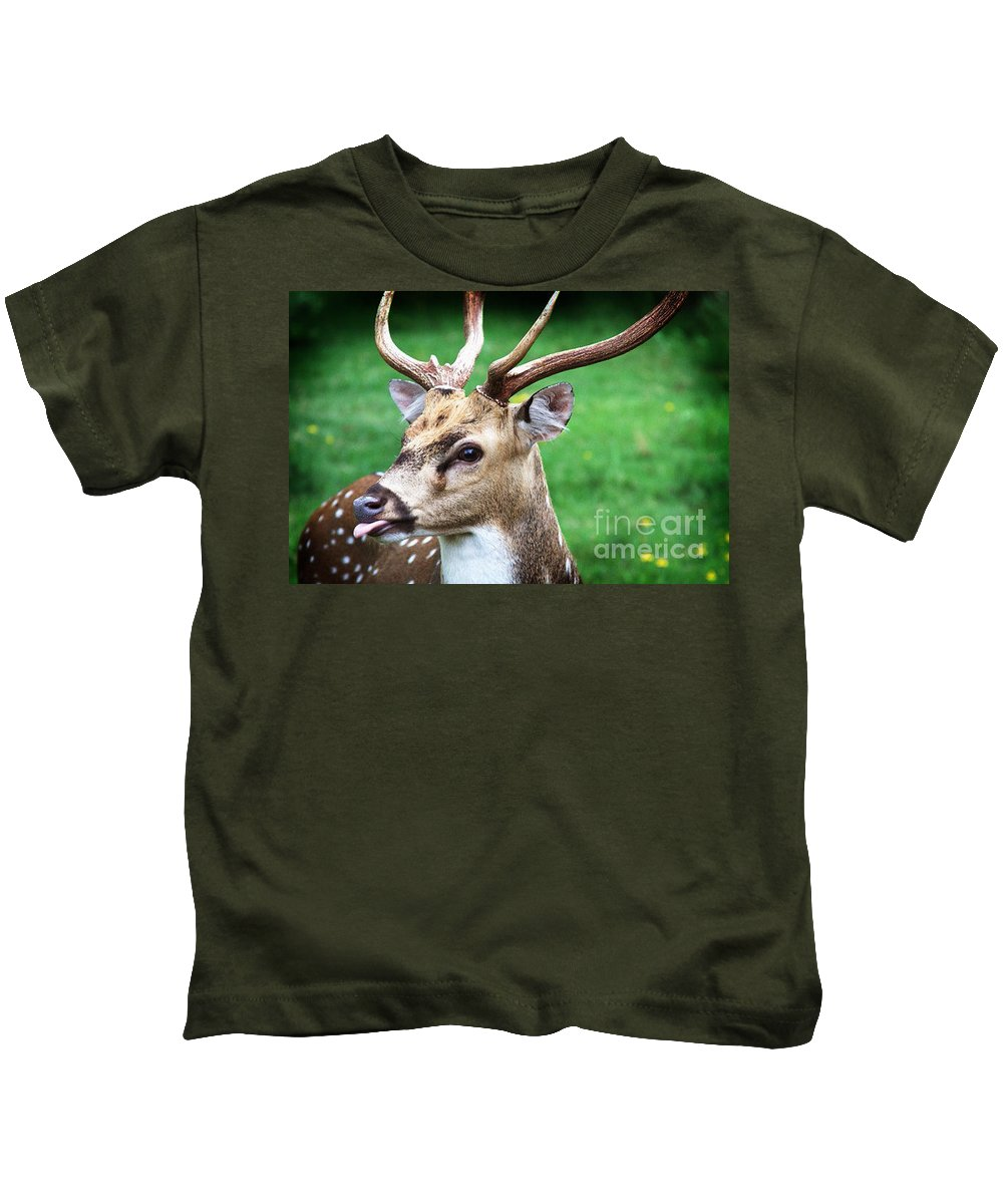 Spotted Deer Kids T-Shirt featuring the photograph He's A Clown by Kim Henderson