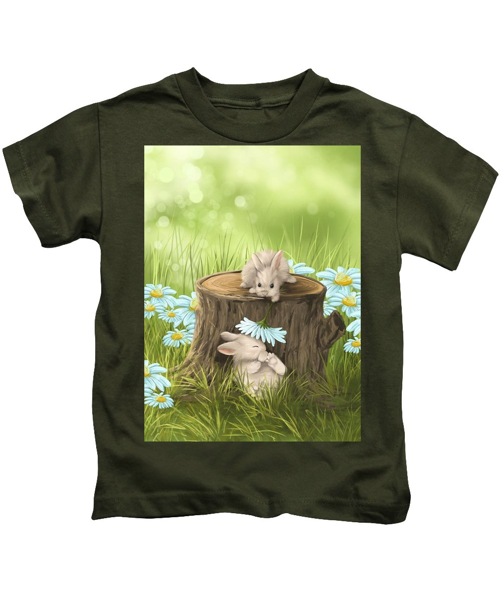 Bunny Kids T-Shirt featuring the painting Hi There by Veronica Minozzi