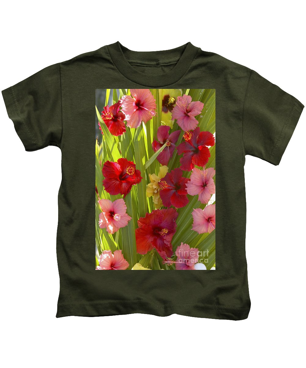 Above Kids T-Shirt featuring the photograph Hibiscus by Kyle Rothenborg - Printscapes