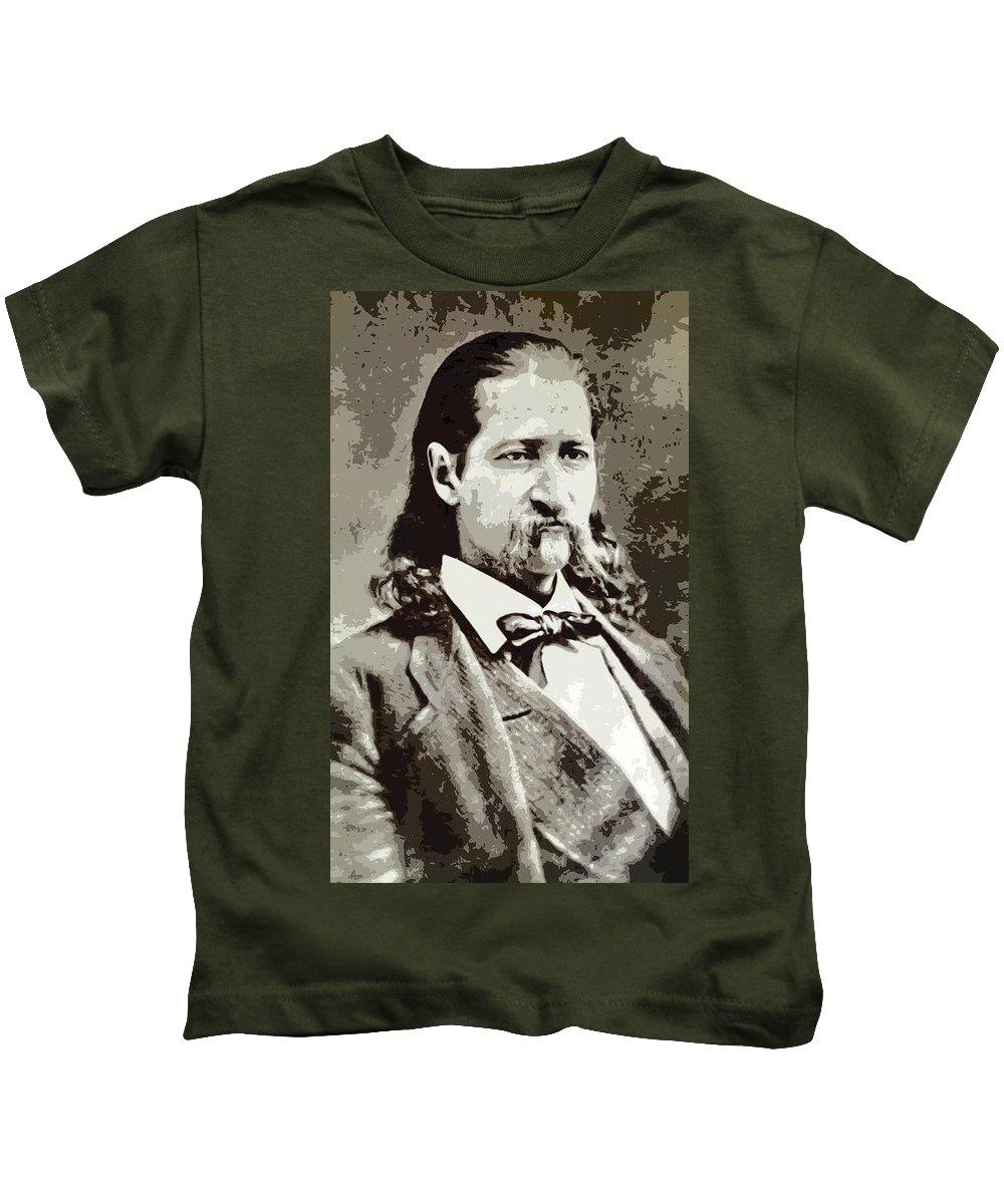 Hickok. Hickock Kids T-Shirt featuring the digital art Hickok by Daniel Hagerman
