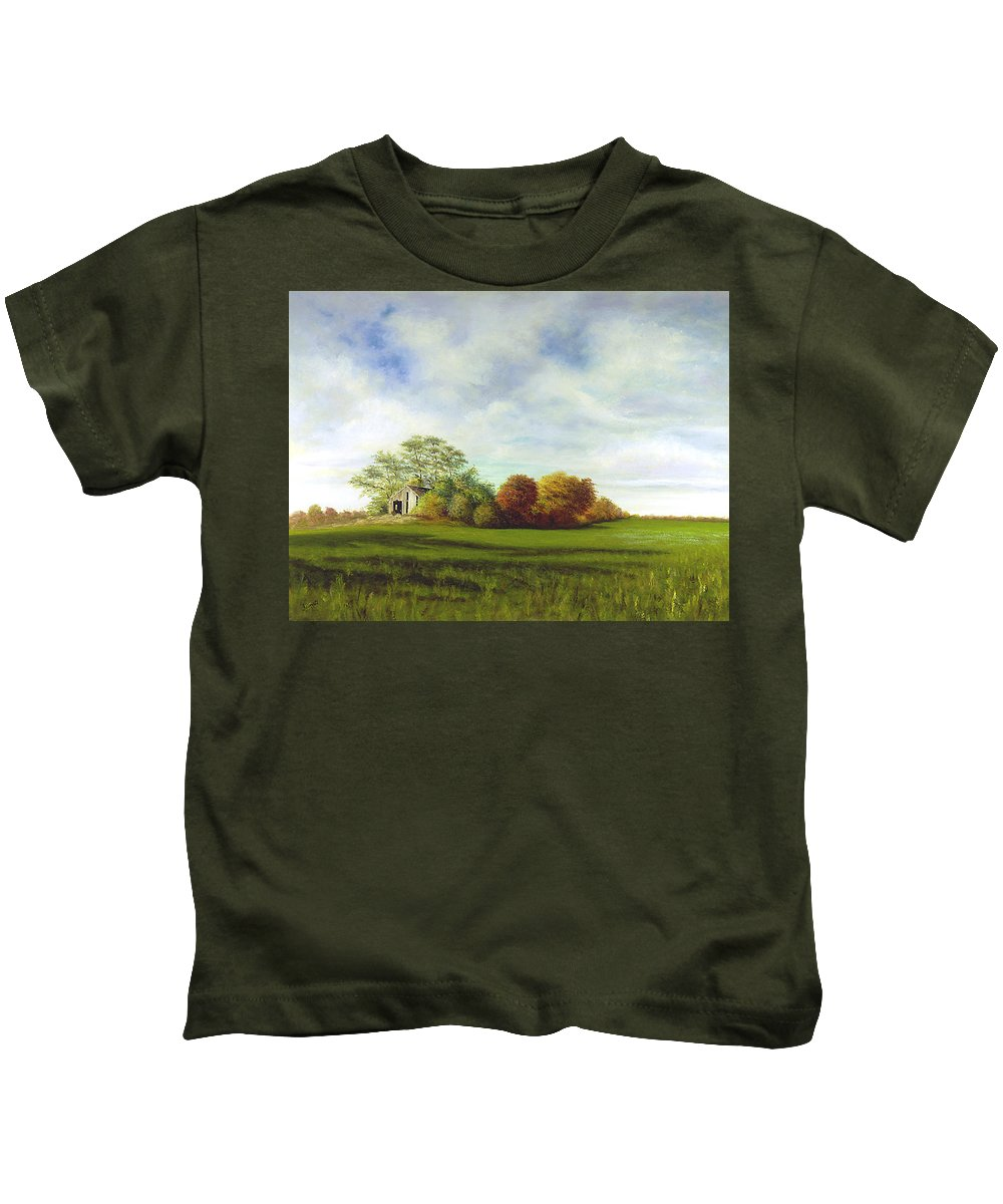 Kids T-Shirt featuring the painting Hidden Barn by Tony Scarmato