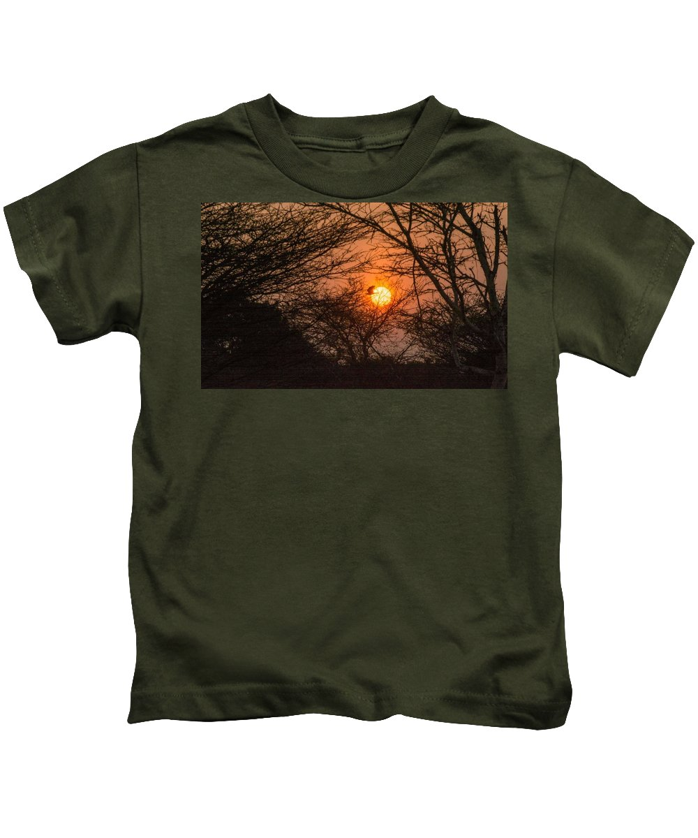 Landscape Kids T-Shirt featuring the pyrography Hiding Sun by Babi Nivas
