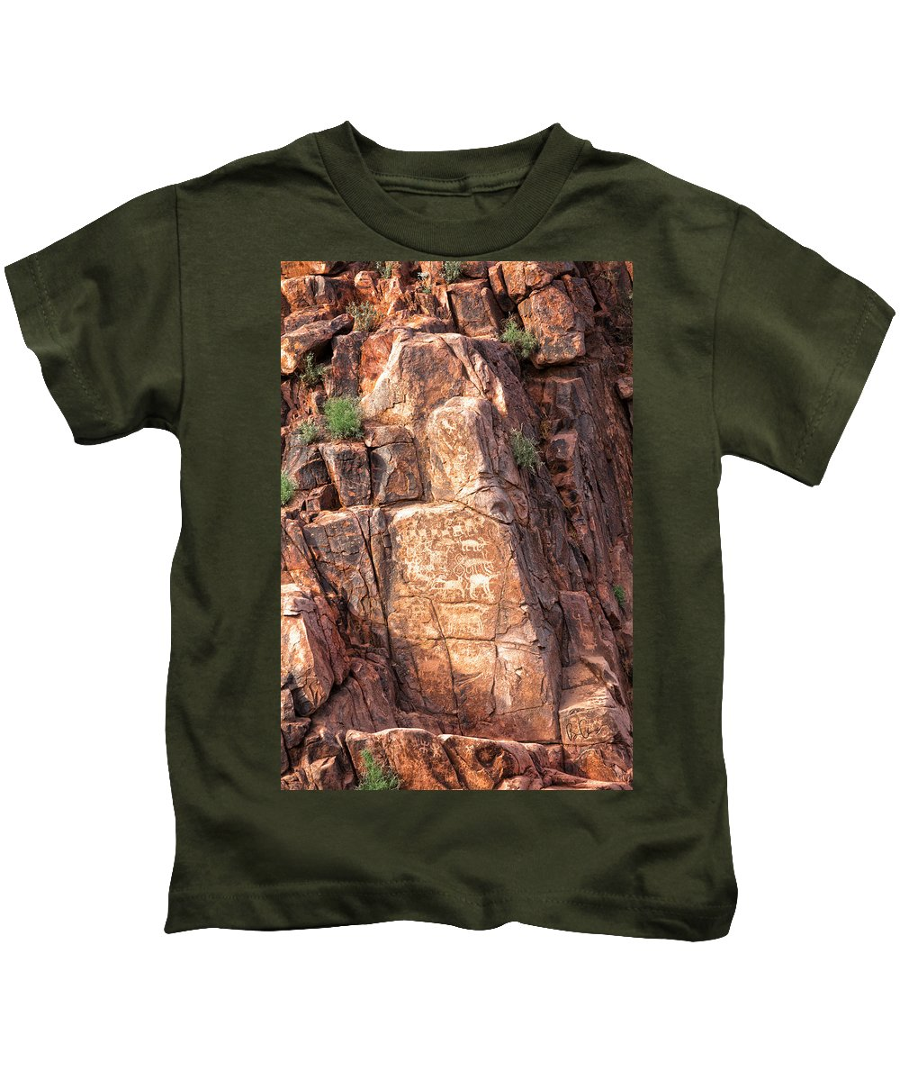 Hieroglyphics Kids T-Shirt featuring the photograph Hieroglyphics Trail 1 by Brian Adamson