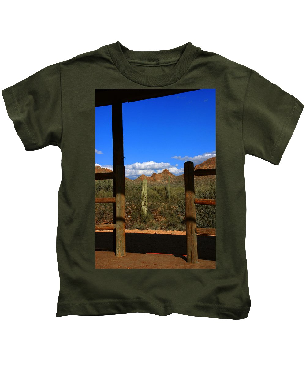 High Chaparral Kids T-Shirt featuring the photograph High Chaparral - Mountain View by Susanne Van Hulst