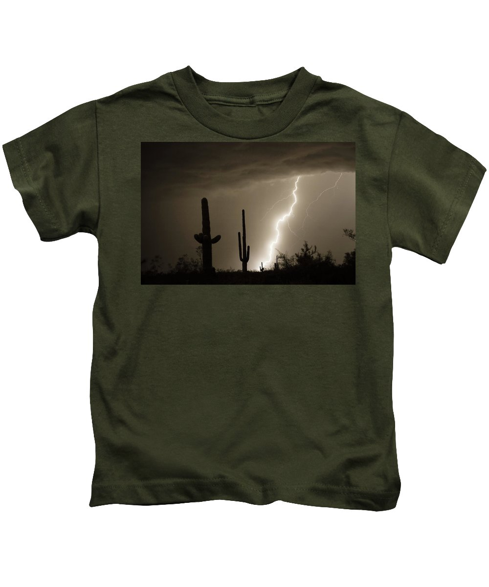 Lightning Kids T-Shirt featuring the photograph High Southwest Desert Lightning Strike by James BO Insogna