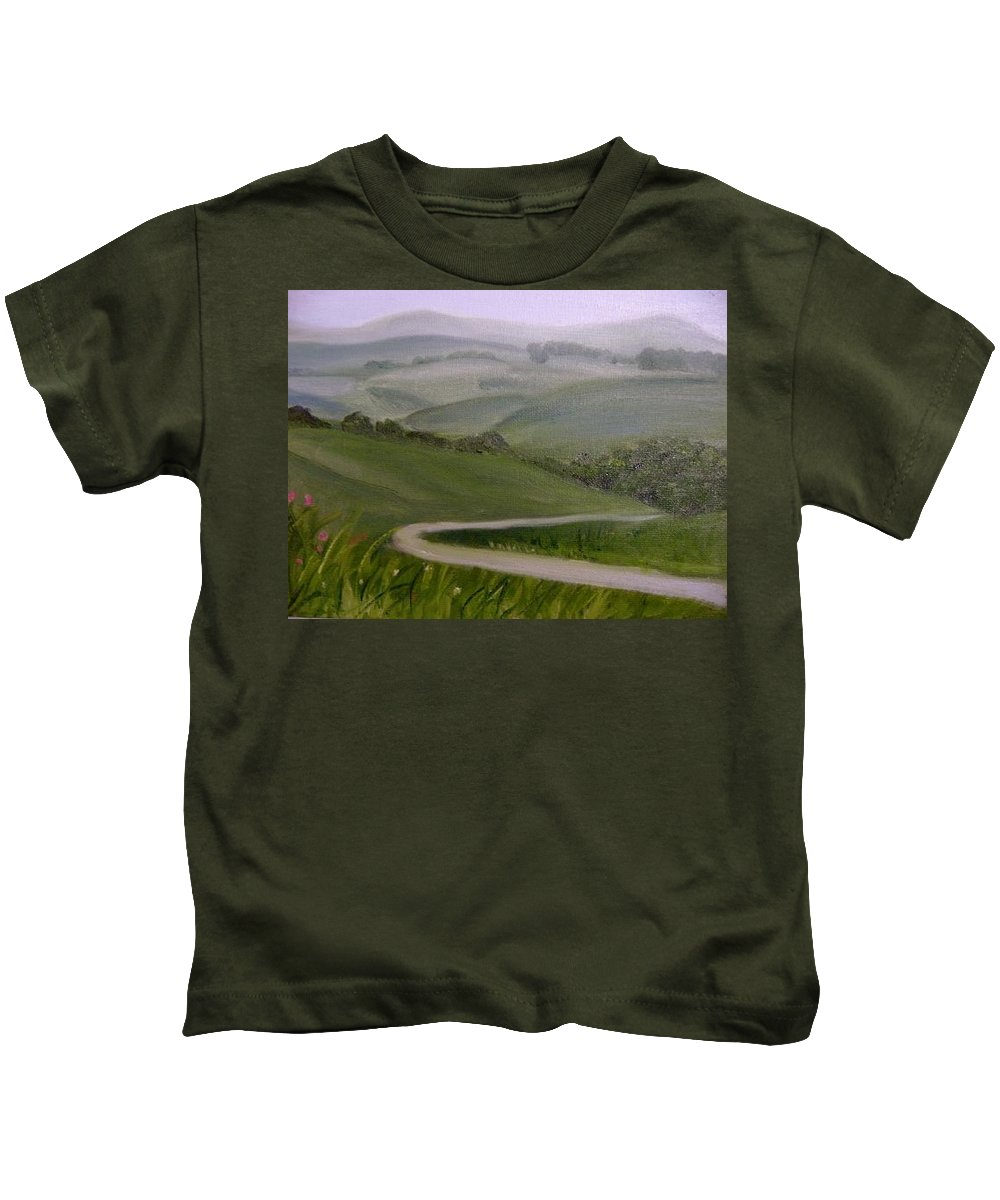 Pathway Kids T-Shirt featuring the painting Highway Into The Hills by Toni Berry