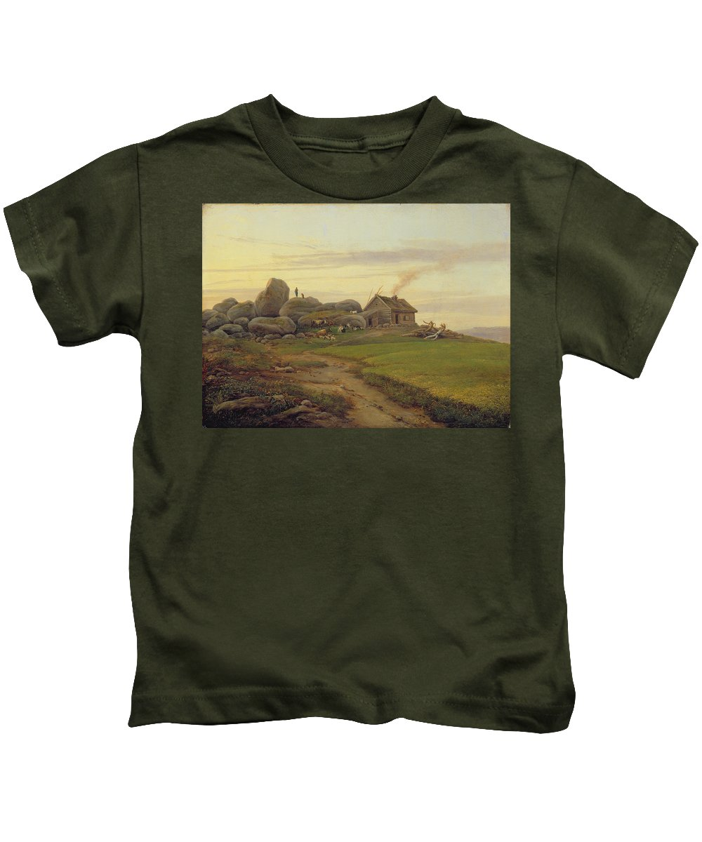 Hill Kids T-Shirt featuring the painting Hill Top by Heinrich Stuhlmann