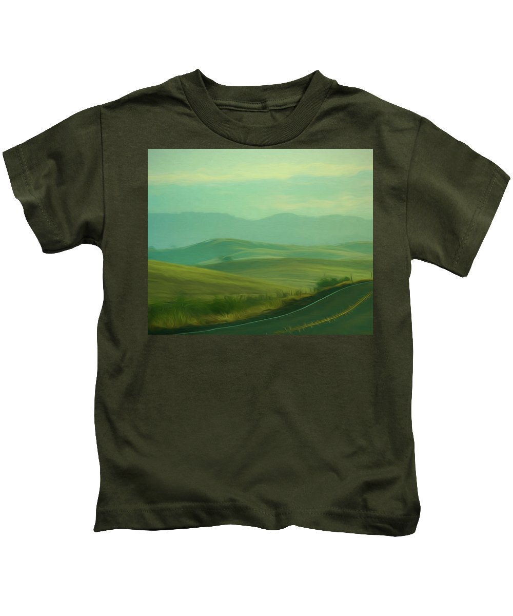 Impressionist Kids T-Shirt featuring the digital art Hills In The Early Morning Light Digital Impressionist Art by Randy Herring